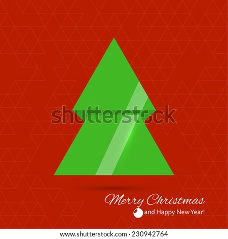 Abstract Winter Background. 3d glossy Christmas tree. Happy New Year and Merry Christmas text. green, red