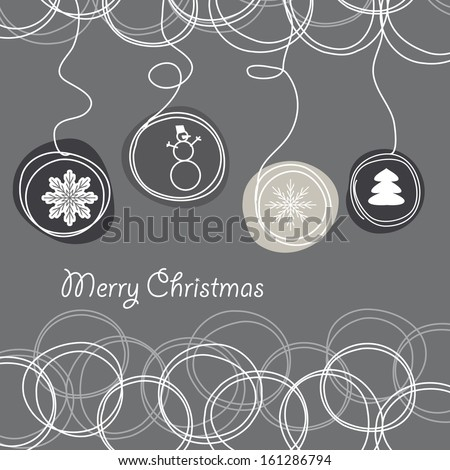 Abstract winter background of a snowflake, a fir-tree, a snowball