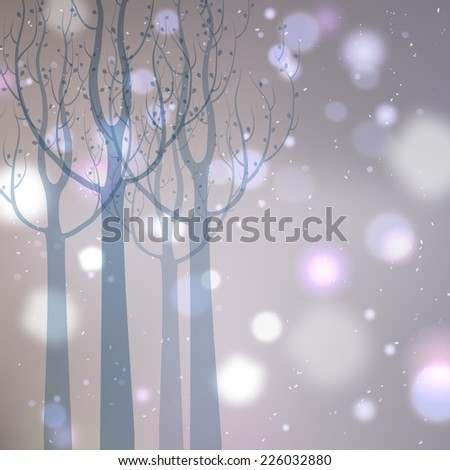 Abstract winter background. Snow-covered trees. - stock vector