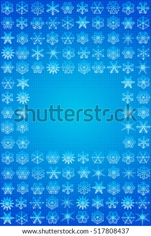 Abstract winter background. Vertical frame of the snowflakes.