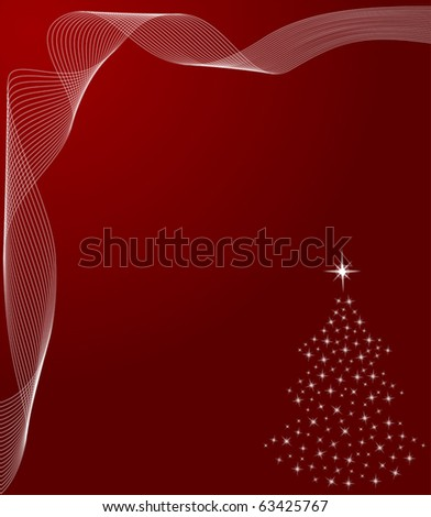 Abstract winter background with christmas tree and scrolls