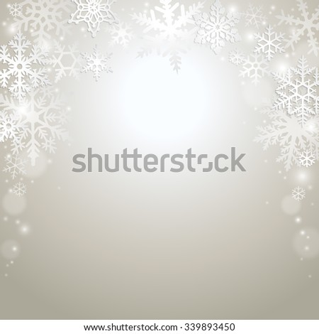 Abstract winter background with frame of snowflakes - stock vector