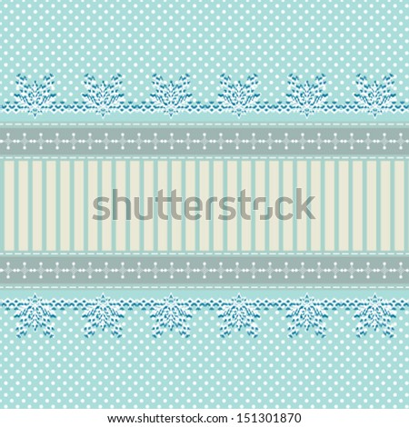 abstract winter background with snowflakes lace ornament and polka dots, for invitation or greeting card. Vector, EPS 8  - stock vector