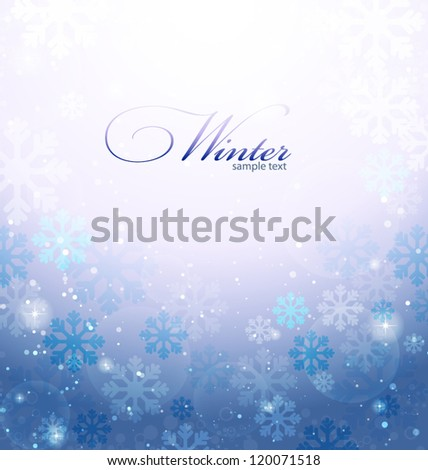 Abstract winter background with snowflakes. Vector illustration. - stock vector