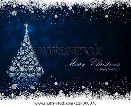 Abstract winter blue background with Christmas tree and snowflakes, illustration. - stock vector