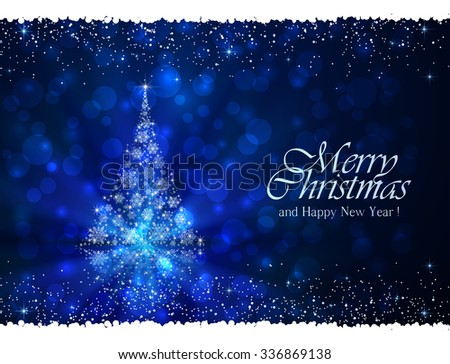 Abstract winter blue background with Christmas tree from snowflakes, illustration.  - stock vector