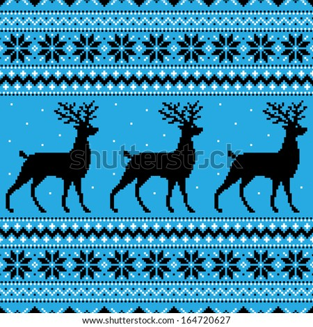 Abstract winter blue background with deer and snowflakes