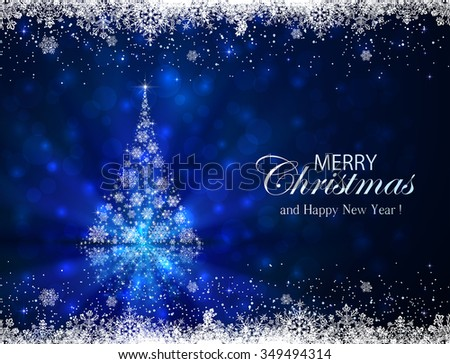 Abstract winter blue background with frame and Christmas tree from snowflakes, illustration.  - stock vector