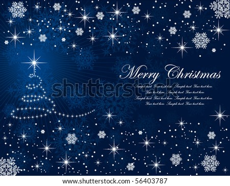Abstract winter blue background, with stars, snowflakes and Christmas tree, illustration