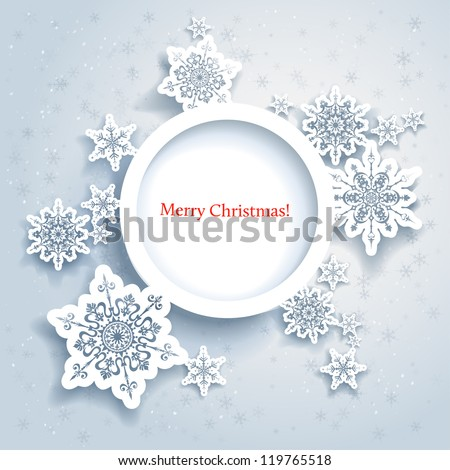 Abstract winter design with snowflakes and space for text - stock vector