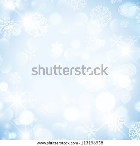 Abstract Winter Holiday Background With Snowflakes and Stars - stock vector