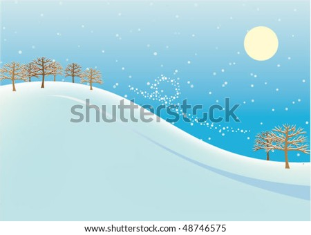 Abstract Winter landscape - stock vector