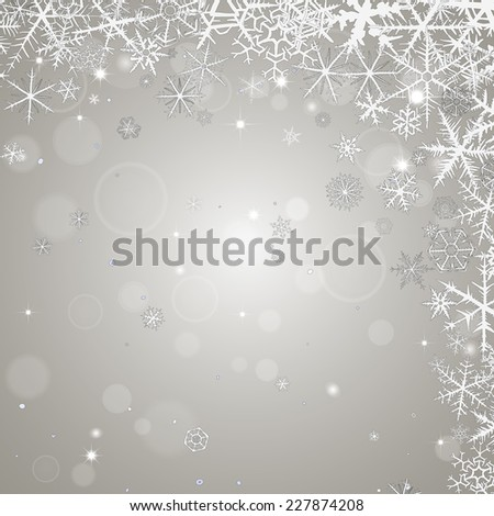 Abstract  winter ligth background with various snowflakes. - stock vector