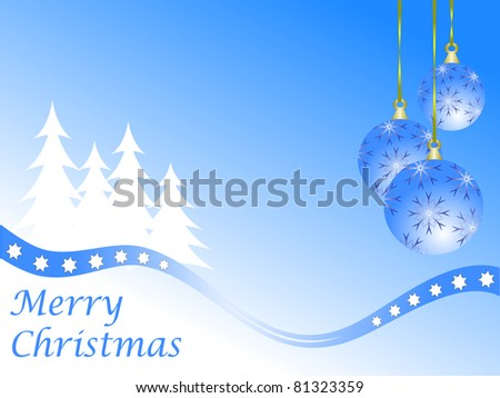 Abstract winter vector background scene with  snowy christmas trees and baubles