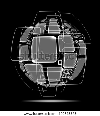 abstract wire globe technology Design background - stock vector