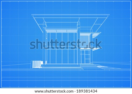 Abstract wireframe blueprint of 3D building - Vector illustration - stock vector