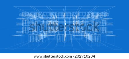 Abstract wireframe building. 3d render  - stock vector