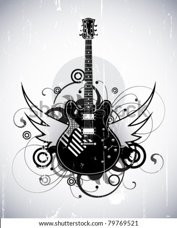 Abstract with black electric guitar - stock vector