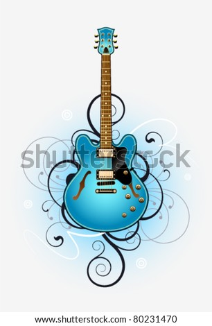 Abstract with blue beautiful electric guitar on a grey background - stock vector