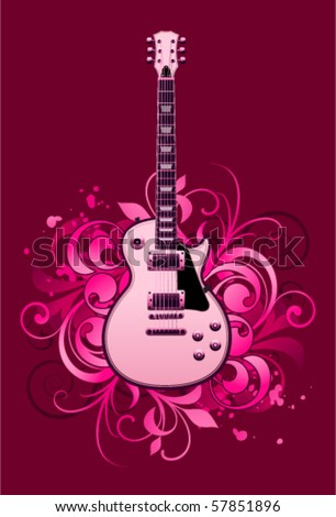 Abstract with electric guitar and design elements - stock vector