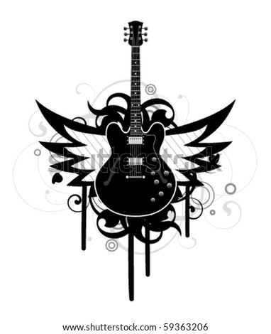 Abstract with guitar and wings - stock vector