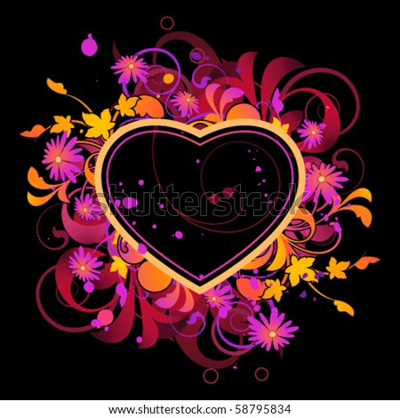 Abstract with heart and floral elements - stock vector