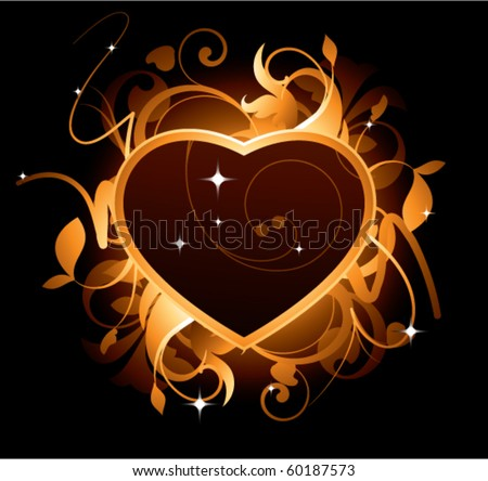 Abstract with heart on a black background - stock vector