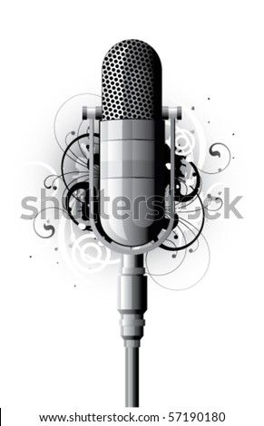 Abstract with microphone and design elements - stock vector