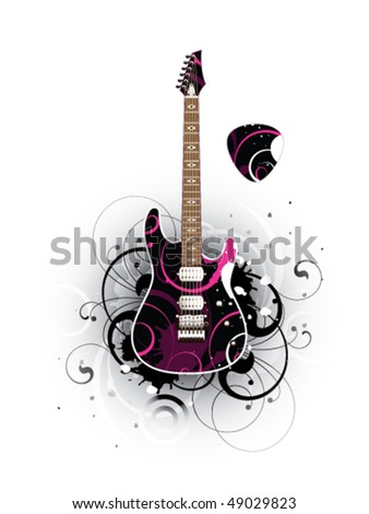 Abstract with modern electric guitar and mediator on a white background - stock vector