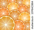 Abstract with pattern oranges slices from background - stock photo