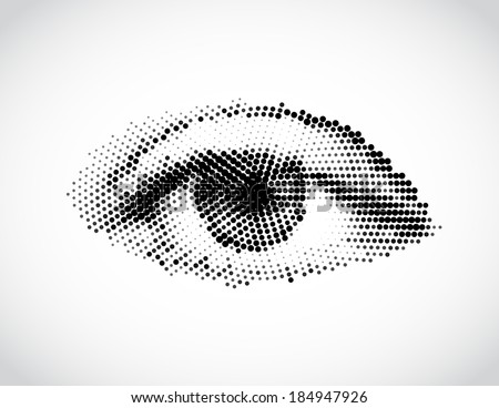 Abstract woman eye made from dots vector