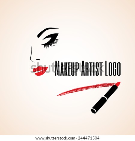 Abstract woman face with closed eye. Trace of lipstick. Makeup artist logo. Vector illustration. - stock vector