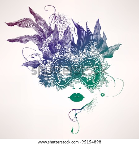 Abstract woman face with flowers. Vector fashion illustration - stock vector