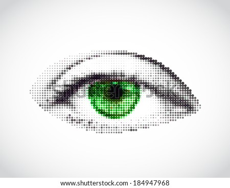 Abstract woman green eye made from dots. Vector - stock vector