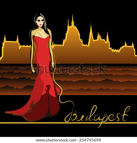 Abstract woman in Budapest on the Danube (poster or card) - stock vector