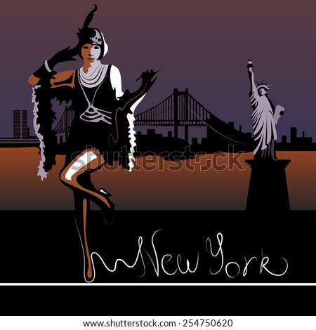 Abstract woman in New York against the backdrop of the Statue of Liberty and  Brooklyn Bridge and the Hudson River (card or poster) - stock vector