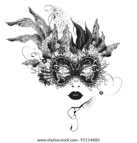 Abstract woman mask with flowers black and white - stock vector