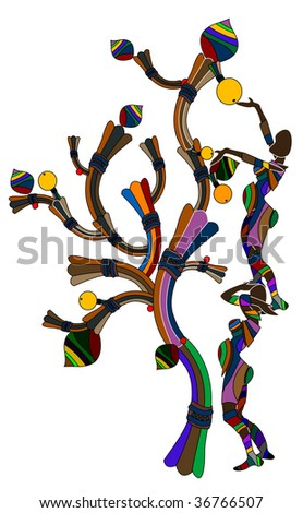 abstract woman picking fruit from a tree on a white background
