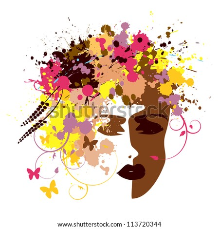 Abstract  woman's face - the vector - stock vector