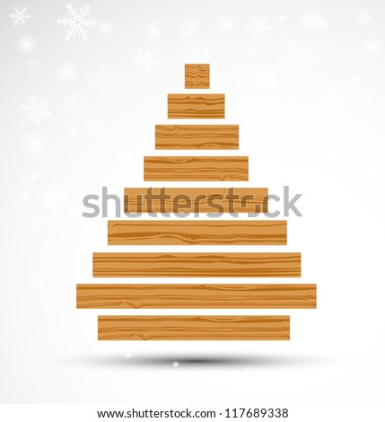 Abstract Wooden Christmas Tree. Vector