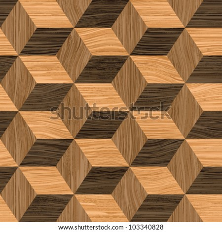 Abstract wooden striped textured cubes parquet background. Seamless pattern. Vector. - stock vector