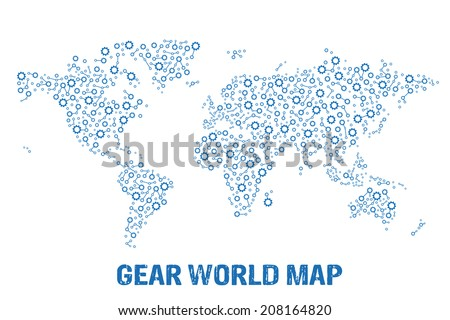Abstract World gear map. Vector design - stock vector