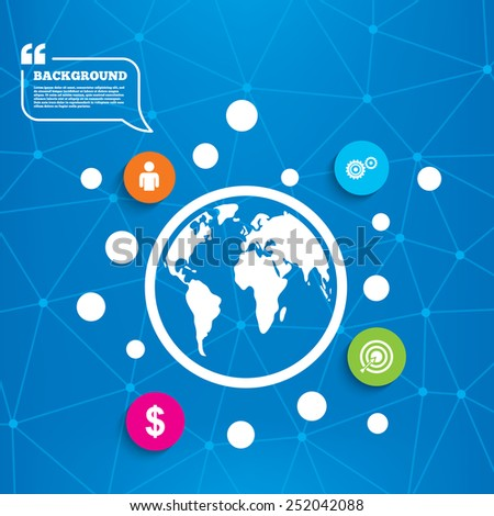 Abstract world globe. Business icons. Human silhouette and aim targer with arrow signs. Dollar currency and gear symbols. Molecule structure background. Vector - stock vector