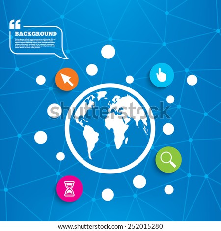 Abstract world globe. Mouse cursor and hand pointer icons. Hourglass and magnifier glass navigation sign symbols. Molecule structure background. Vector - stock vector