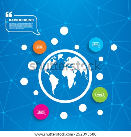 Abstract world globe. Top-level internet domain icons. Com, Eu, Net and Org symbols with hand pointer. Unique DNS names. Molecule structure background. Vector - stock vector