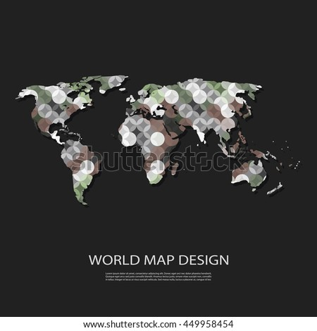 Abstract World Map Background Design in Editable Vector Format