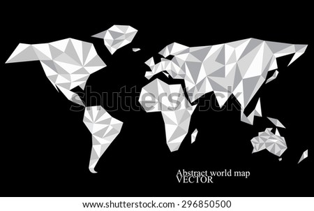 Abstract world map background in polygonal style. Colorful vector illustration. Eps 10 - stock vector