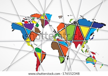 Abstract World map background in polygonal style vector format - stock vector