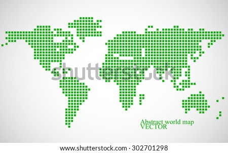 Abstract world map. Colorful pixel background. Vector illustration. Eps 10 - stock vector