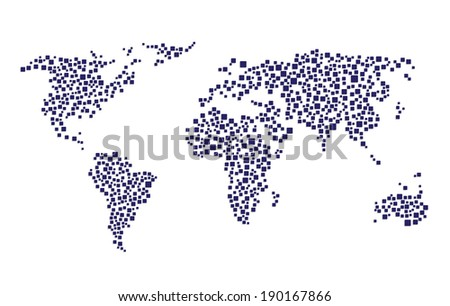 Abstract world map squares stock vector 190167866 shutterstock abstract world map from squares gumiabroncs Choice Image
